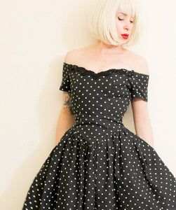 Vintage 1980s Black Polkadot Mini Dress