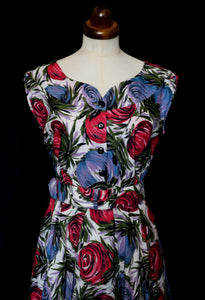 Vintage 1950s Mid Century Print Cotton Dress