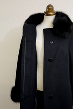 Vintage 1960s Black Wool Princess coat
