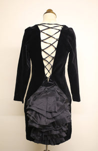 Vintage 1980s Black Velvet Bustle Dress