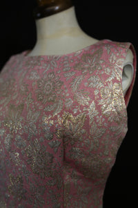 Vintage 1960s Pink Brocade Mini Dress