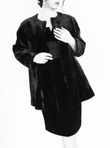 Vintage 1920s Heavy Black Velvet Coat