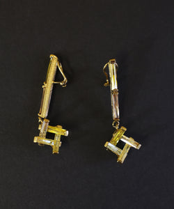 Vintage 1960s Gold Yellow Crystal Abstract Drop Earrings