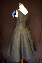 Vintage 1950s Black Stripe Taffeta Dress