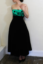 Vintage 1980s Black Green Polkadot Dress