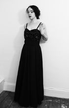 Vintage 1950s Black Grosgrain Ballgown Dress