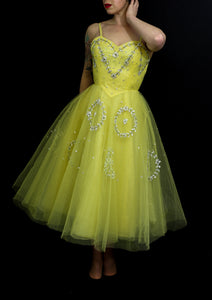Vintage 1950s Yellow Sequin Tulle Cocktail Dress