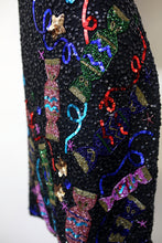 Vintage 1980s Black Beaded Novelty Candy Mini  Dress