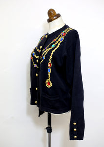 Vintage 1980s Black Novelty Chain Cardigan