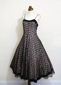 Vintage 1950s Black and Pink Lace Cocktail Dress