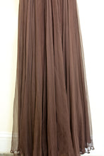 Vintage 1950s Dark Brown Silk Chiffon Maxi Dress