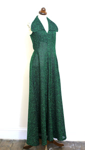 Vintage 1970s Emerald Green Lurex Maxi Dress
