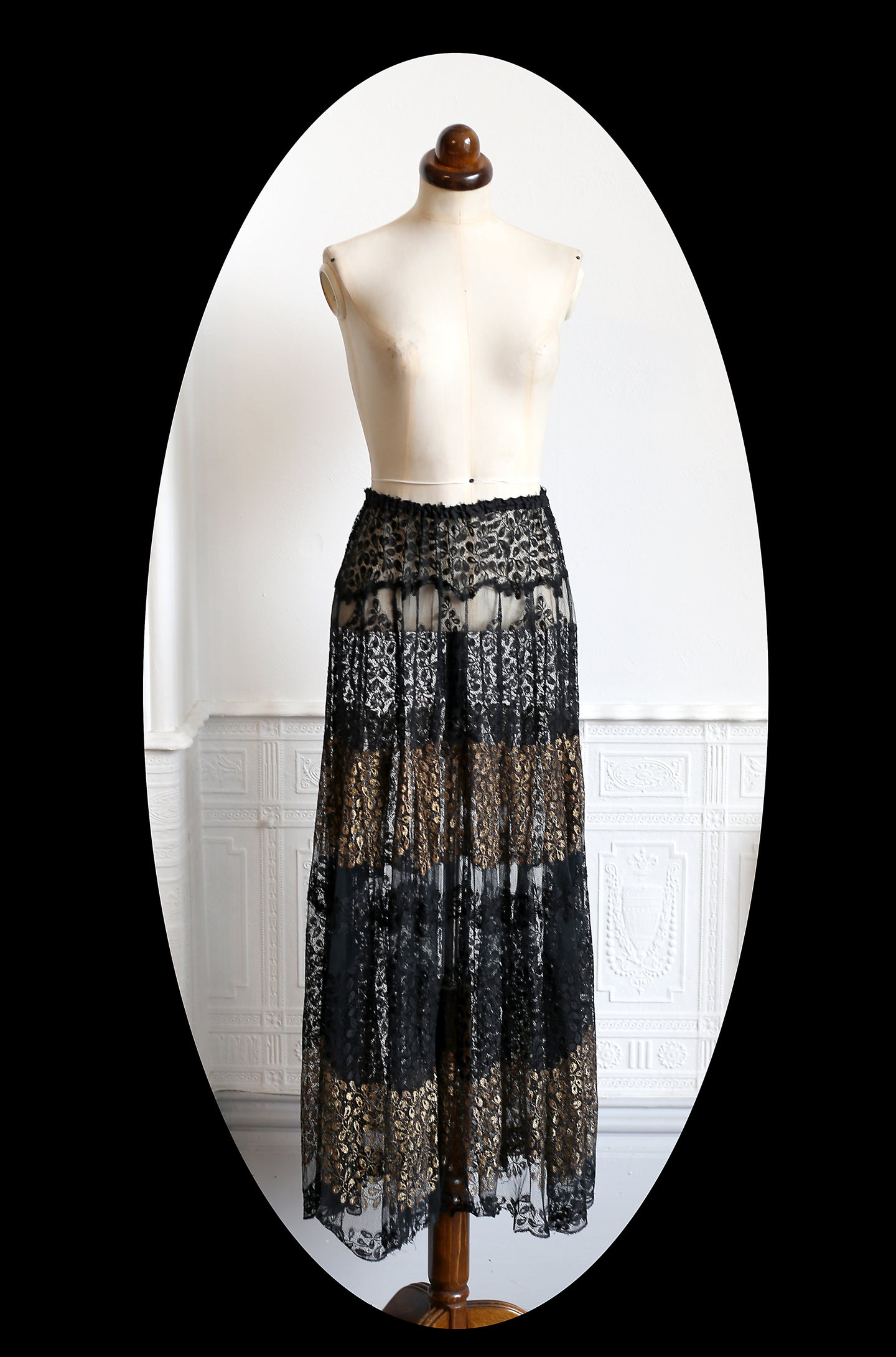Vintage 1920s Black and Gold Lace Skirt