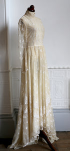 Vintage 1970s Edwardian Style Cream Lace Wedding Dress