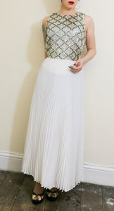 Vintage 1970s White Pleated Maxi Dress