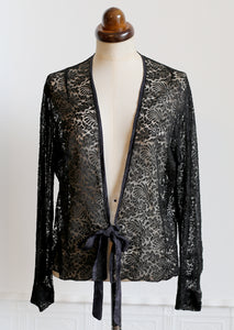 Vintage 1930s Black Lace Tie Top