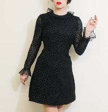 Vintage 1960s Black Ruffle Mini Dress