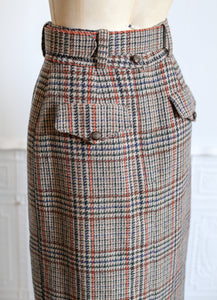 Vintage 1940s Style Tweed Long Midi Pencil Skirt