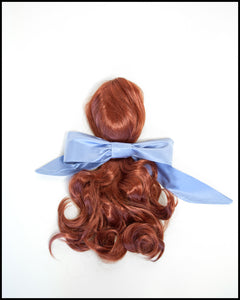 Large Blue Silk Hair Bow