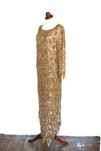 Vintage 1980s Gold Silk Sequin Dress