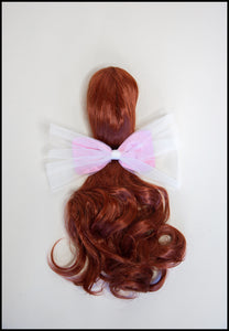 Pink Tulle & Silk Hair Bow