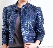 Vintage 1980s Navy Sequin Jacket