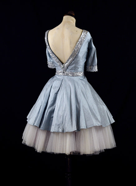 CATHY Blue sequinned silk dress