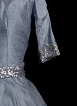 CATHY - Blue sequinned silk dress