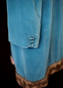 Vintage 1950s Blue Velvet Princess Coat