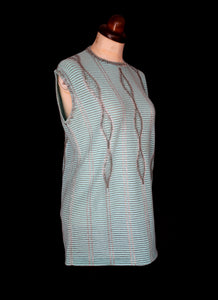 RESERVED Vintage 1960s Blue Beaded Knit Tunic Top