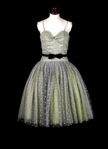 RESERVED Carrie - Green Dotty Tulle Prom Dress