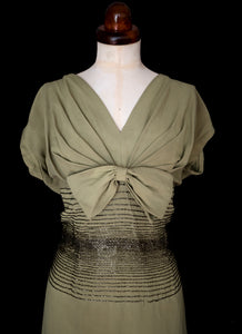 Vintage 1950s Green Gold Beaded Wiggle Dress