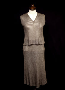 Vintage 1970s Mary Farrin Metallic Gold Knit Dress