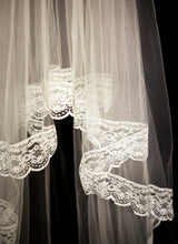 Vintage White Lace Edge Full Length Wedding Veil