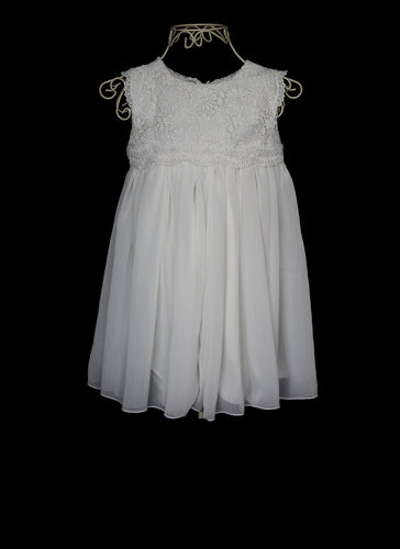 Molly - White Guipure lace Flower Girl Dress