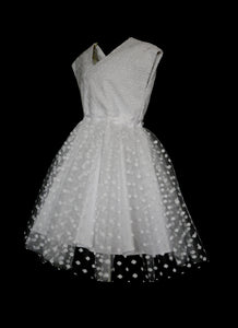 Lottie -white broderie anglaise cotton tulle flower girl dress