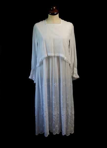 Antique 1910s White Embroidered Cotton Dress