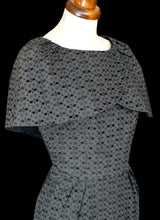 Vintage 1950s Broderie Anglaise Grey Cape Wiggle Dress