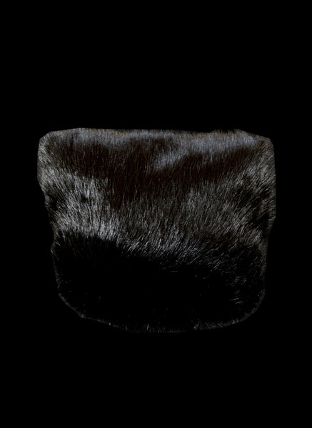 Black Faux Fur Muff Hand Warmer Bag