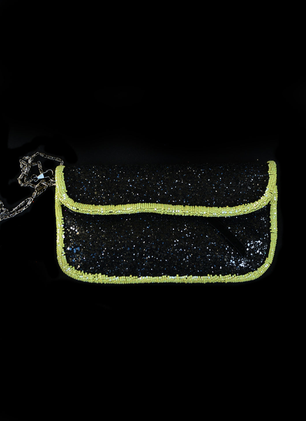 Bag - Green Black Glitter Beaded Evening Purse