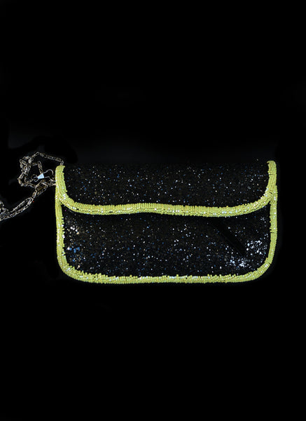 Absinthe - Green Beaded Black Glitter Evening Purse