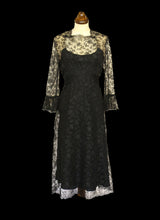 Vintage 1970s Alfred Bosand Black Lace Dress