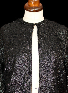 Vintage 1950s Black Sequin Cardigan