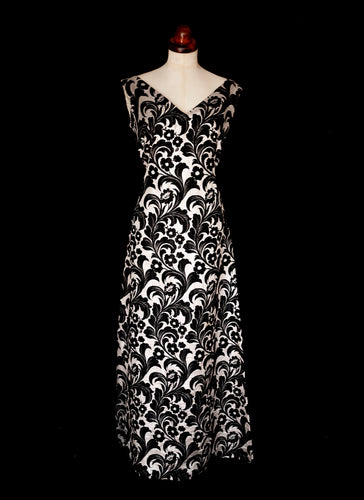 Vintage 1960s Black Silver Brocade Maxi Dress