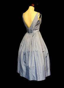 Vintage 1950s Blue Taffeta Dress