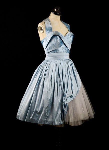 Carla - Pale Blue Silk and Tulle Short Dress