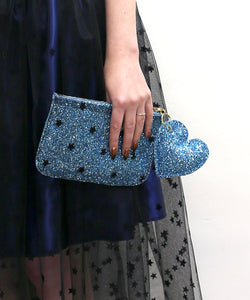 Purse - Blue Star Glitter Tulle Pouch Purse