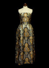 Vintage 1960s Bronze Gold Brocade Dress