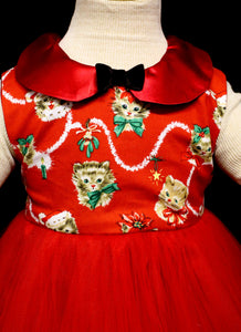 Girls Red Kitty Dress