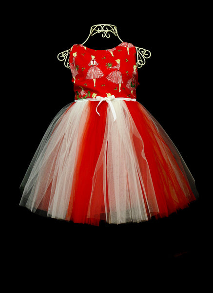 Girls Red Candy stripe Dress